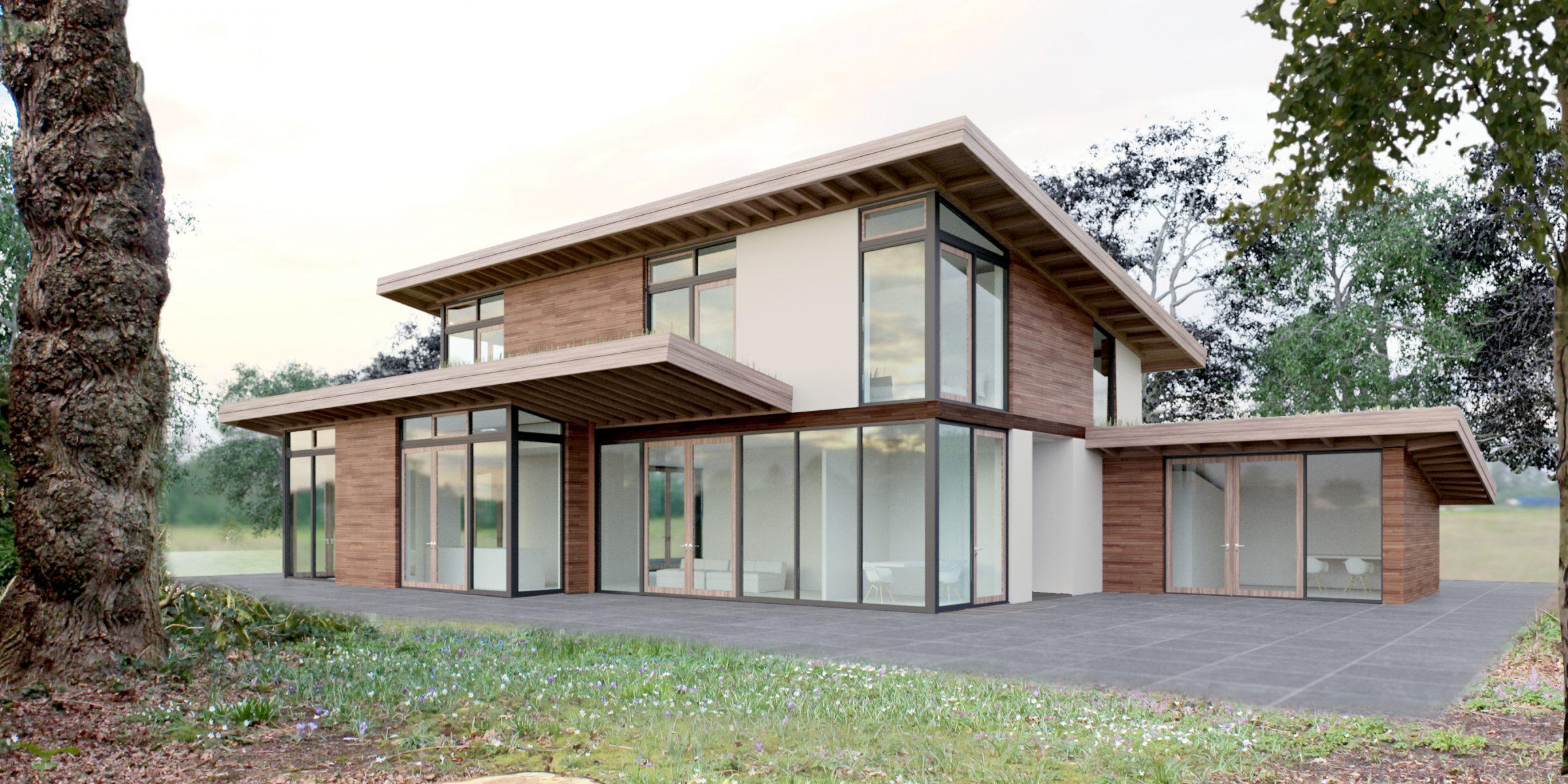 moderne glazen villa